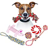 Creaker Puppy Dog Chew Rope Toys , Dog Ball , Chew Squeaky Toys and Interactive Training Dog Frisbee Toy for Small or Medium Dog (6 pack)