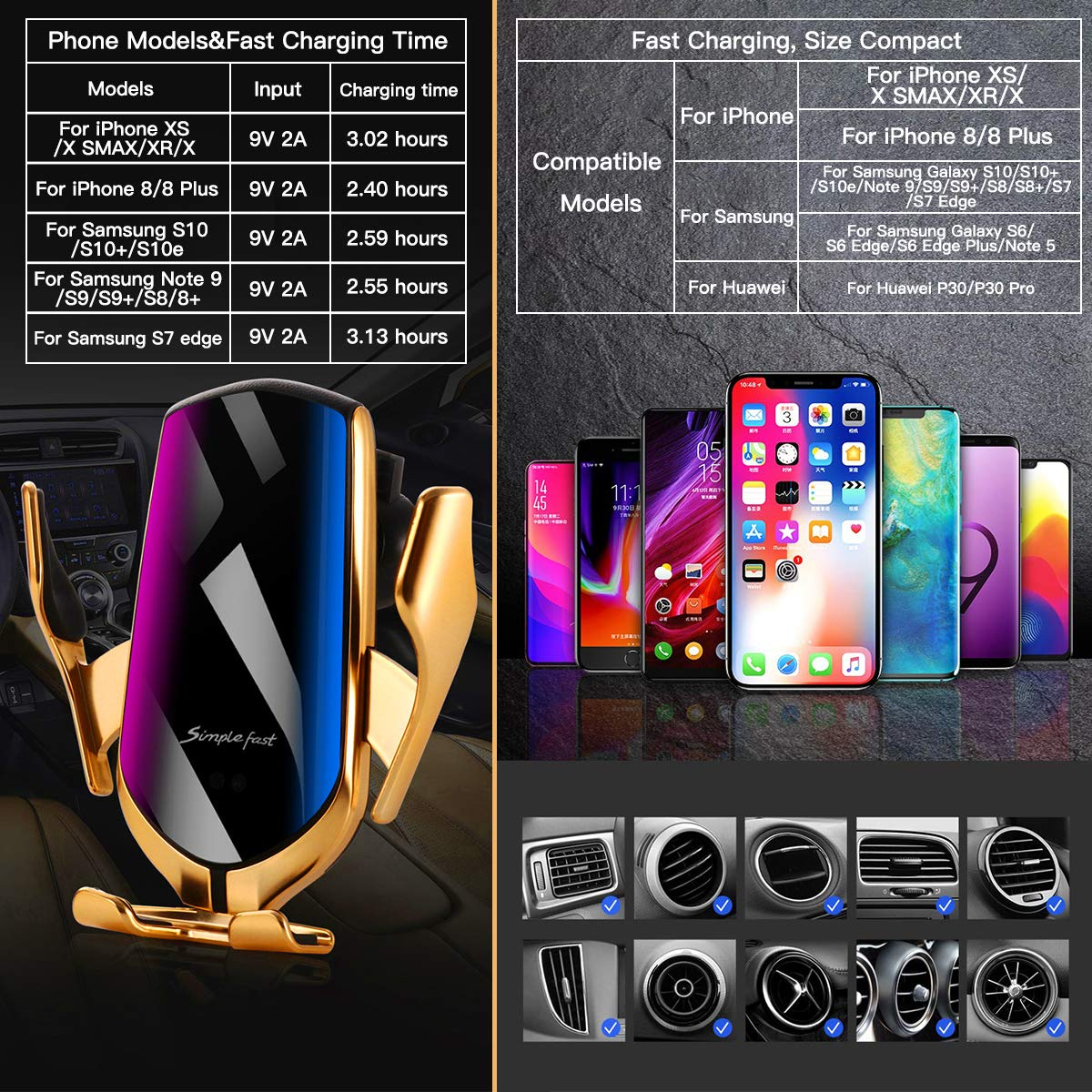 Fast Phone Charger for Car for iPhone Xs Max//XR//X//8 Plus Galaxy S10//S10+//S9 Gold 10W Qi Air Vent Wireless Car Mount Charger Automatic Clamping Wireless Charger
