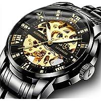 Relojes, Relojes Hombre Mecánico Automático de Lujo de Estilo Clásico Impermeable Números Esfera con Correa de Acero…