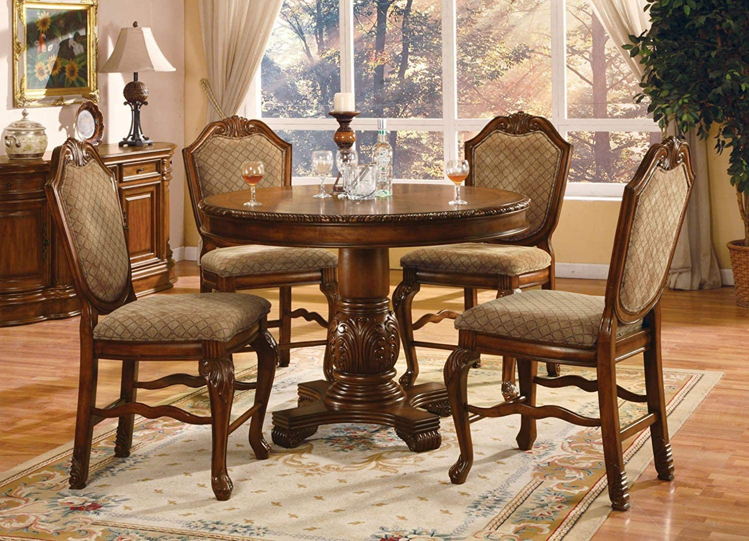 Amazon Com Acme Chateau De Ville 5 Piece Counter Height Dining Set Table 4 Chairs Cherry Finish Table Chair Sets