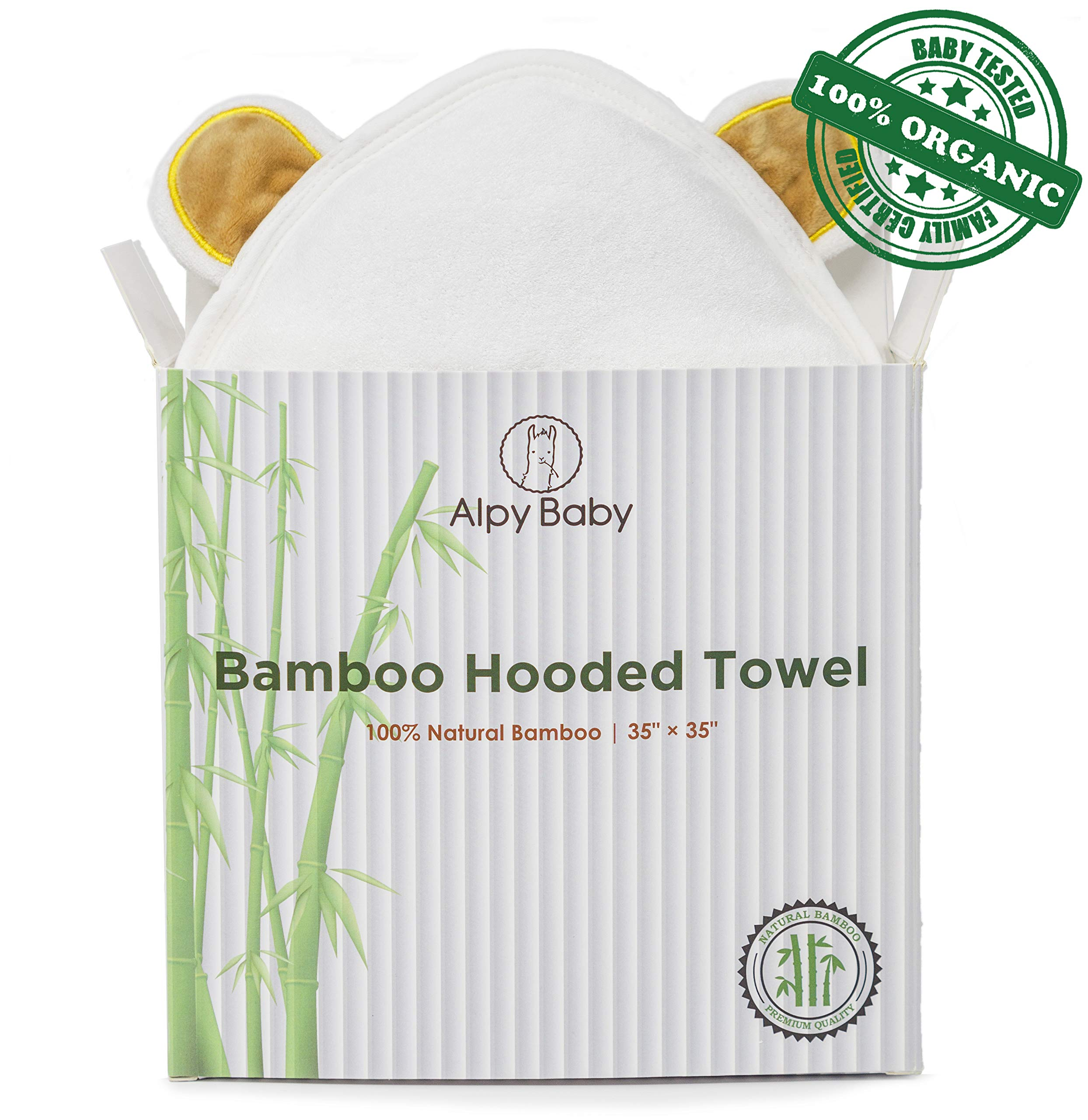 Alpy Baby Organic Bamboo Hooded Towel - Premium Quality Hypoallergenic Towel - 0-5 Years by Alpy Baby