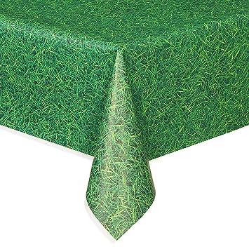 Superior Green Grass Plastic Tablecloth, 108u0026quot; ...