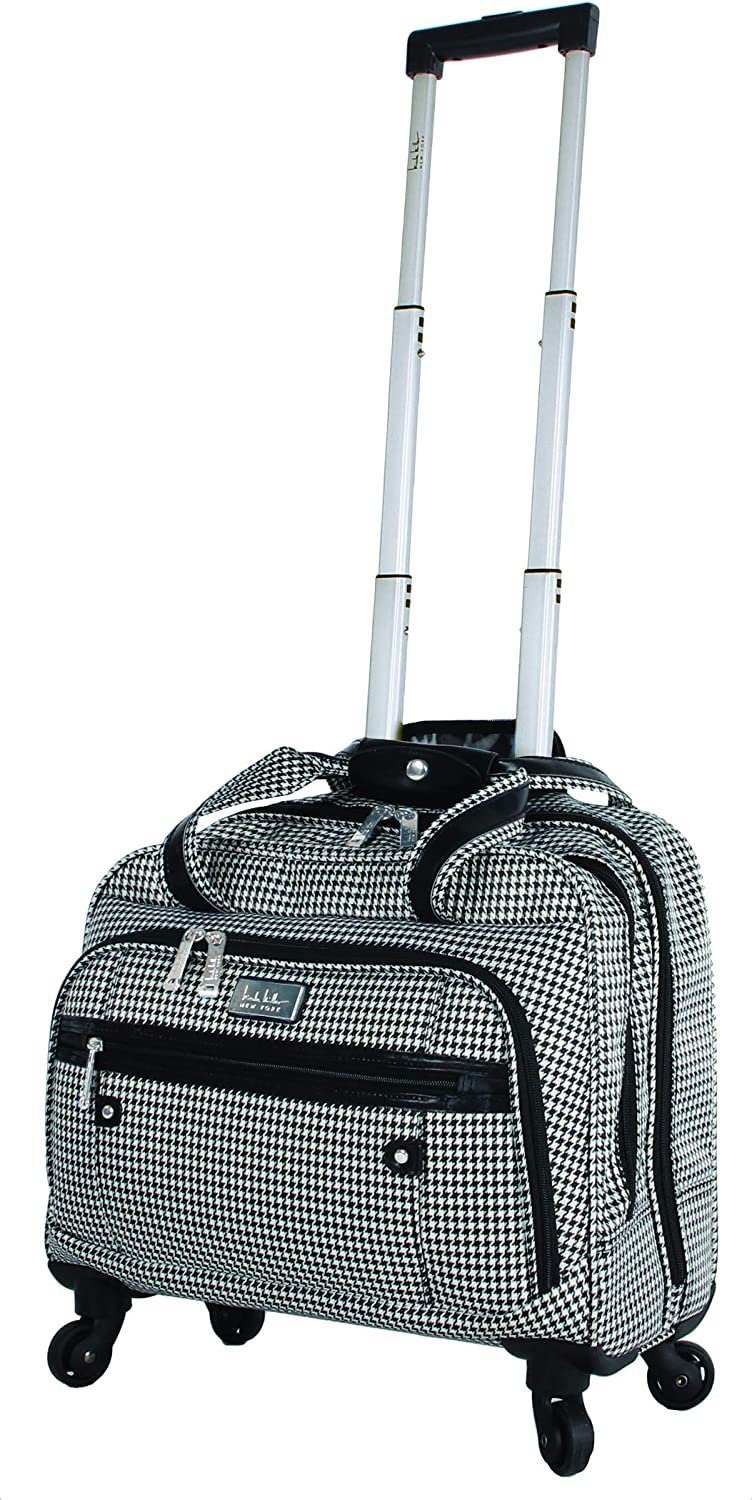 Nicole Miller New York Designer 17 Inch Carry On - Weekender Overnight Business Travel Luggage - Lightweight 4- Spinner Wheels Suitcase - Briefcase Rolling Bag for Women (Taylor Black/White Plaid)