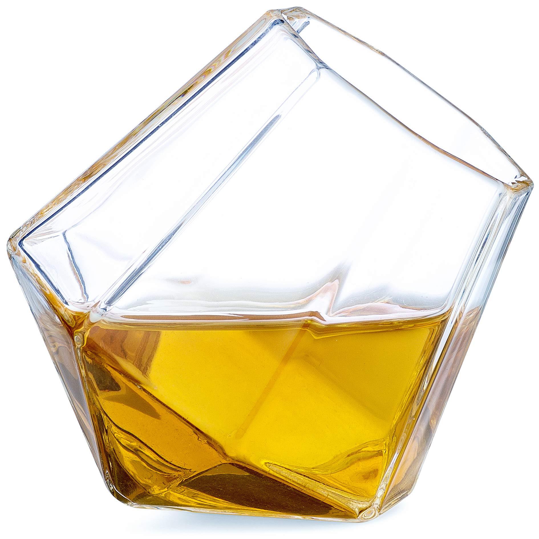 Dragon Glassware Diamond Shot Glasses, Premium Designer Cups for Liquor and Spirits, 1.7-Ounces, Gift Boxed - Set of 4
