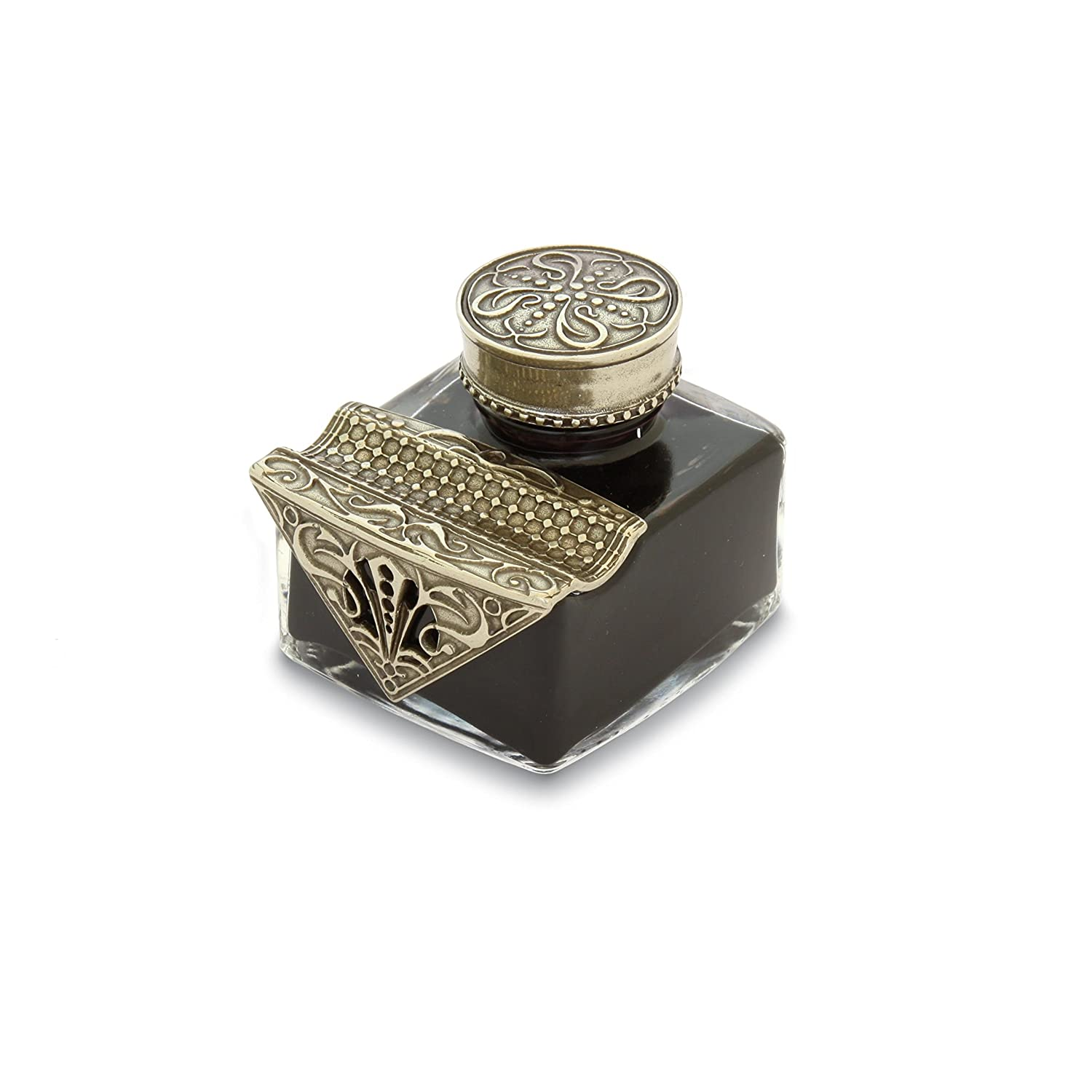BORTOLETTI Glass Inkwell With Chiselled Bronze Friezes And Exempla Line Pen Pencil