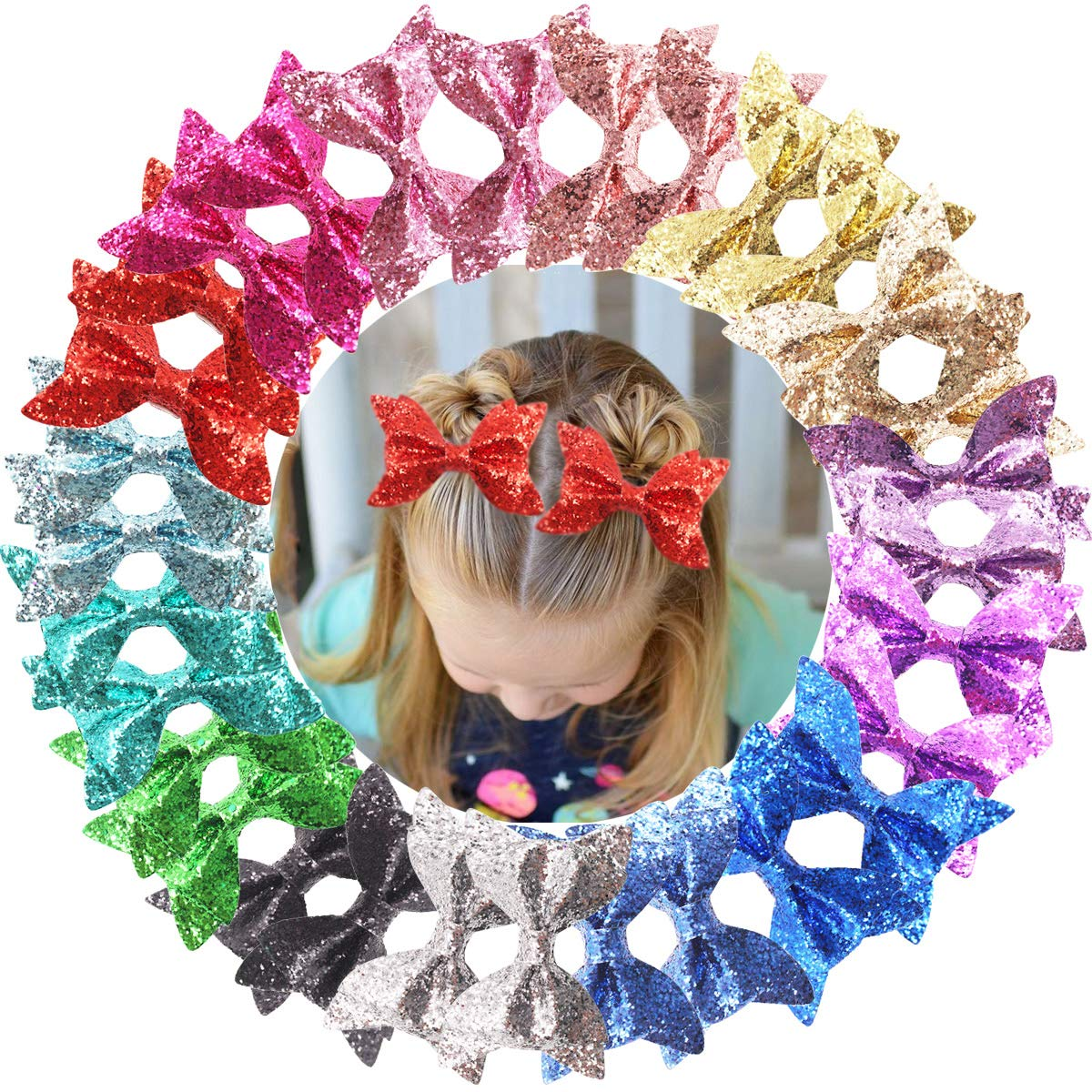 30PCS Baby Girls Glitter Hair Bows Clips 4.3Inch Sparkly Glitter Bows Alligator Hair Clips Pigtail Hair Bows Hair Accessories for Girls Toddlers Kids Children In Pairs