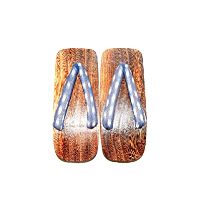 Japanese Wooden Sandal Geta for Men Design Kimono Check and Cloud | Sandals