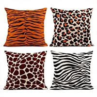 Pillow Cover Set of 4 Cushion Covers Linen Animal Patterns For Textile Design/Print Giraffe Pattern Tiger Pillowcases…