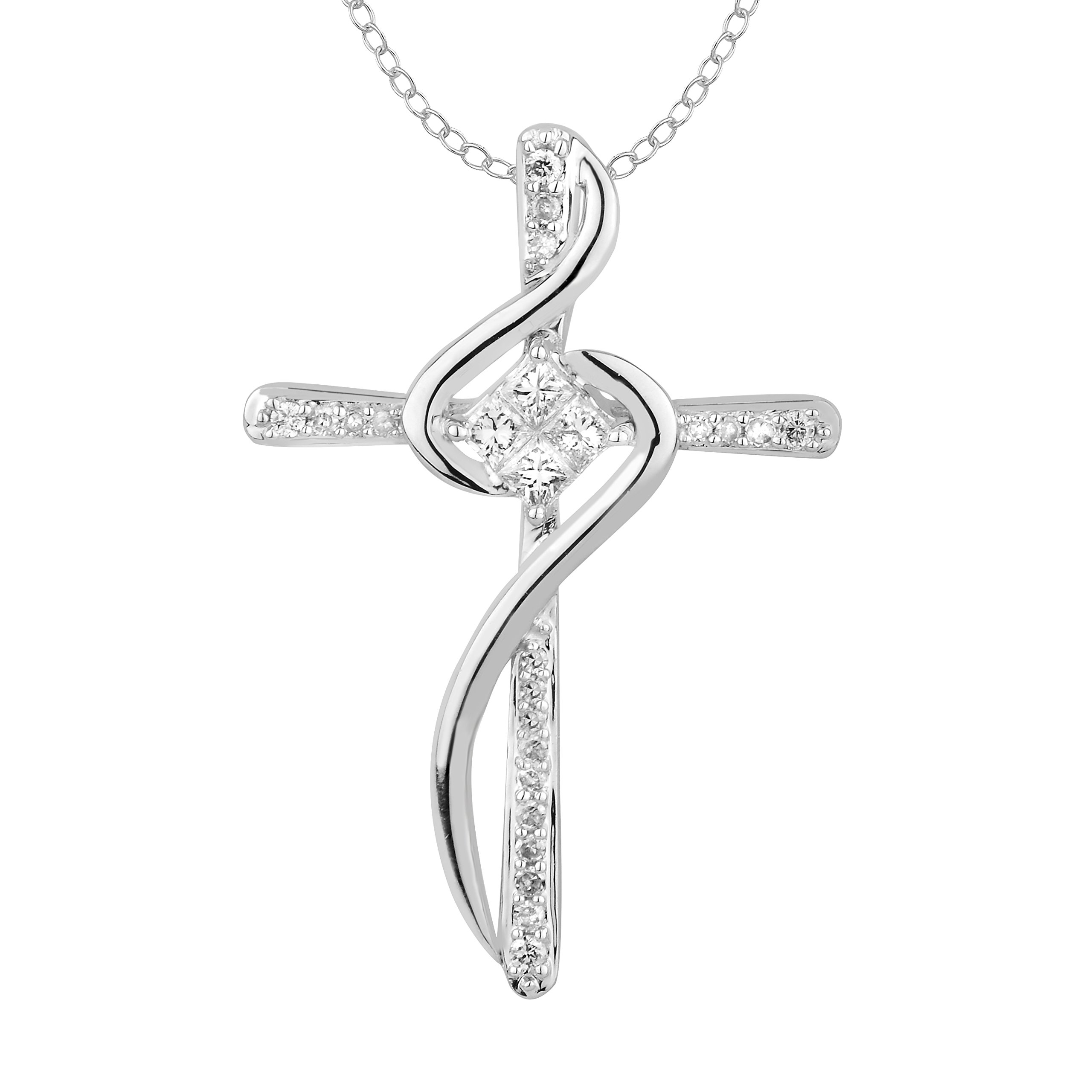 1/2 cttw Princess & Round Diamond Solid 10K Gold Twisted Cross Pendant (white-gold)