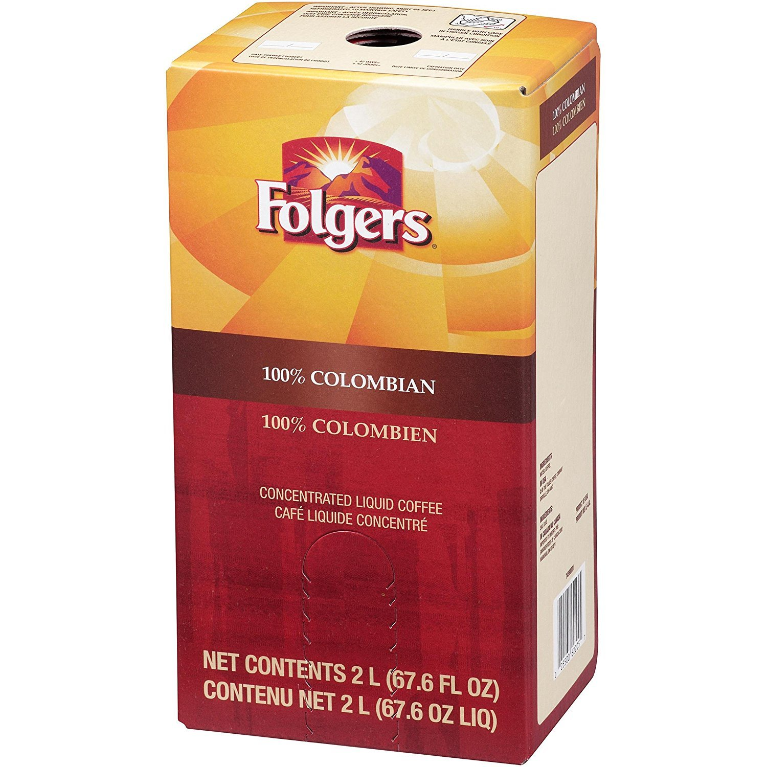 Folgers Liquid Coffee - 100% Colombian 1 box 2 Liters - Replaces Douwe Egberts (Pack of 2) Smucker' s