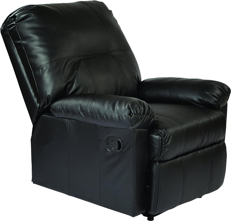 Black KNS54-BK Office Star Kensington Bonded Leather Recliner