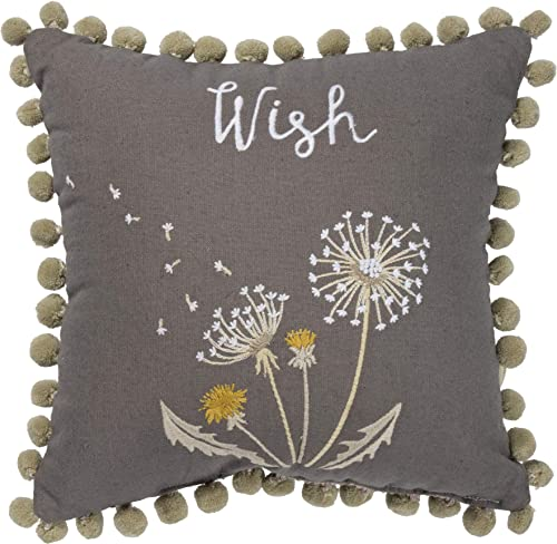 Primitives by Kathy Wish Embroidered Dandelions Throw Pillow, Cotton Linen Blend Cushion with Pom-Pom Accents, 12 Square