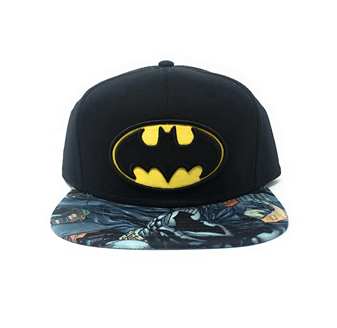 4f75e30a0cd0f Bioworld Men s Batman Carbon Fiber Snapback Hat O S Black Yellow ...