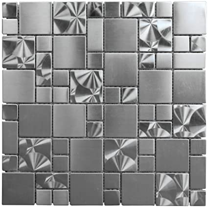 Stainless Steel Metal French Pattern Mosaic Tile For Kitchen
