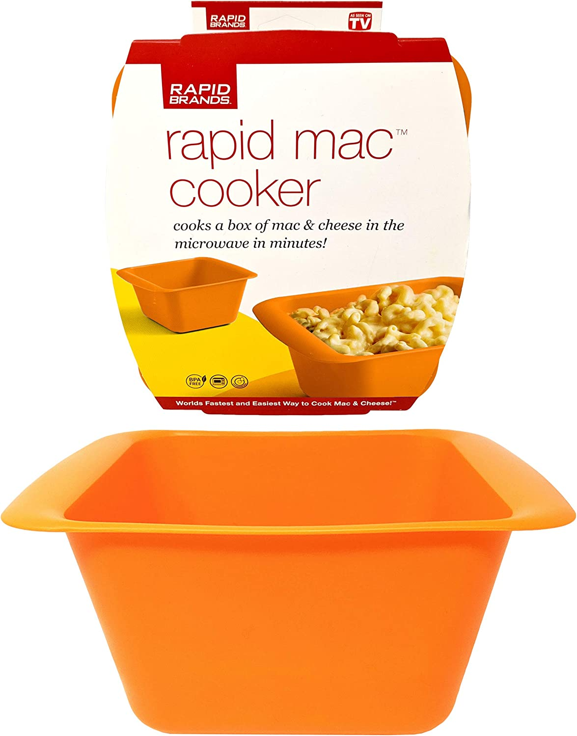 Rapid Mac Cooker | Microwave Macaroni & Cheese in 5 Minutes | Perfect for Dorm, Small Kitchen, or Office | Dishwasher-Safe, Microwaveable, & BPA-Free (Orange)
