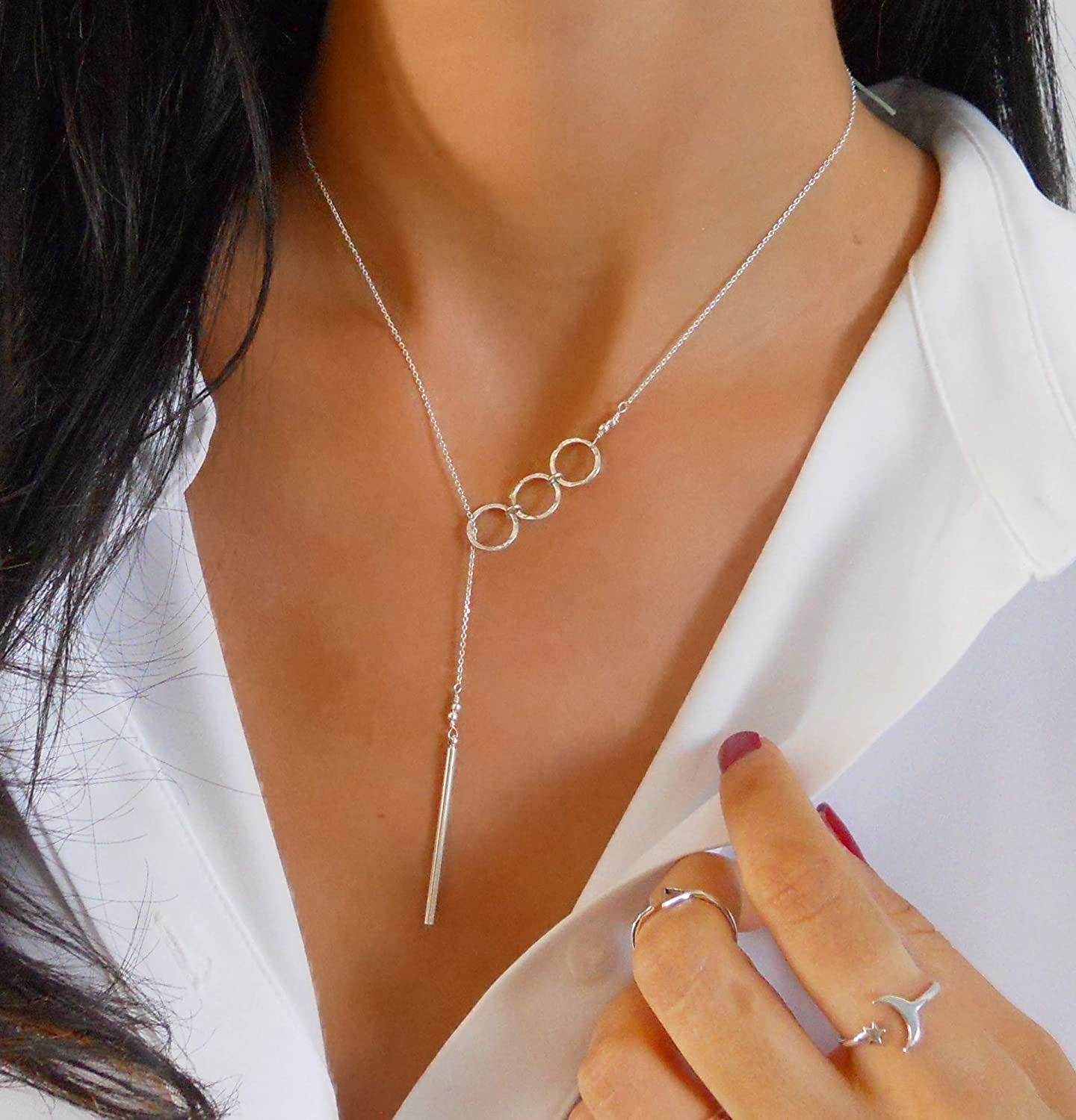personalized gift womens circle Y necklace bohemian jewelry simple silver heart lariat necklace