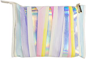 Kendra Scott Cute Leatherette Travel Jewelry Zip Pouch, Colorful Deluxe Jewelry Case Organizer for Rings, Necklaces, Bracelets, and Earrings, Iridescent Facets