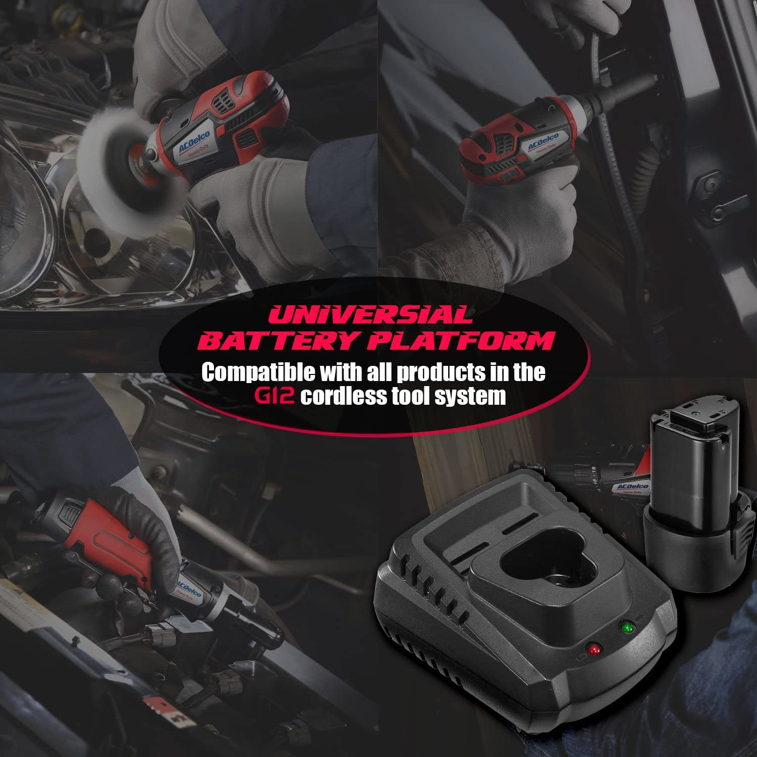 """ACDelco ARW1207P G12 Series 12V Cordless Li-ion 1/4"""" 30 ft-lbs. Torque Ratchet Wrench Tool Kit: Home Improvement"""