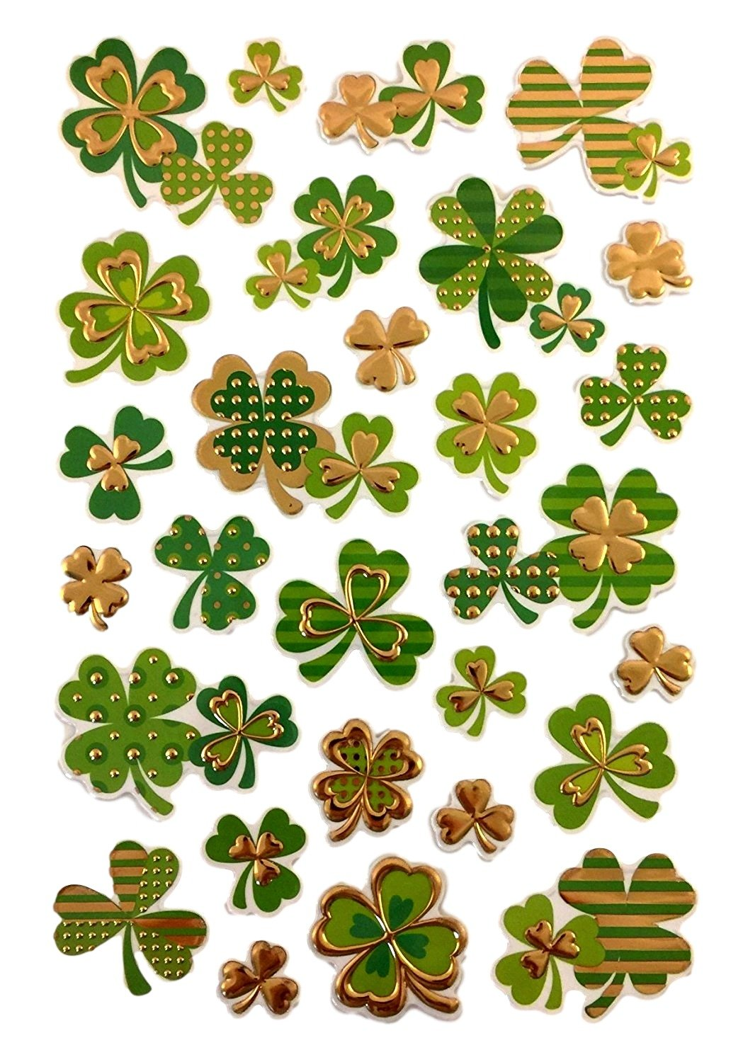 Sheet of Irish St Patricks Day Stickers - Embossed and Gold Foiled in Whimsical Shamrock / Clover Designs