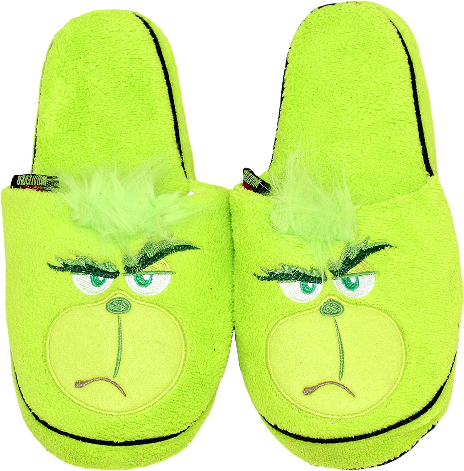 Grinch Adult Merry Whatever Adult Green Embroidered Plush Scuff Slipper