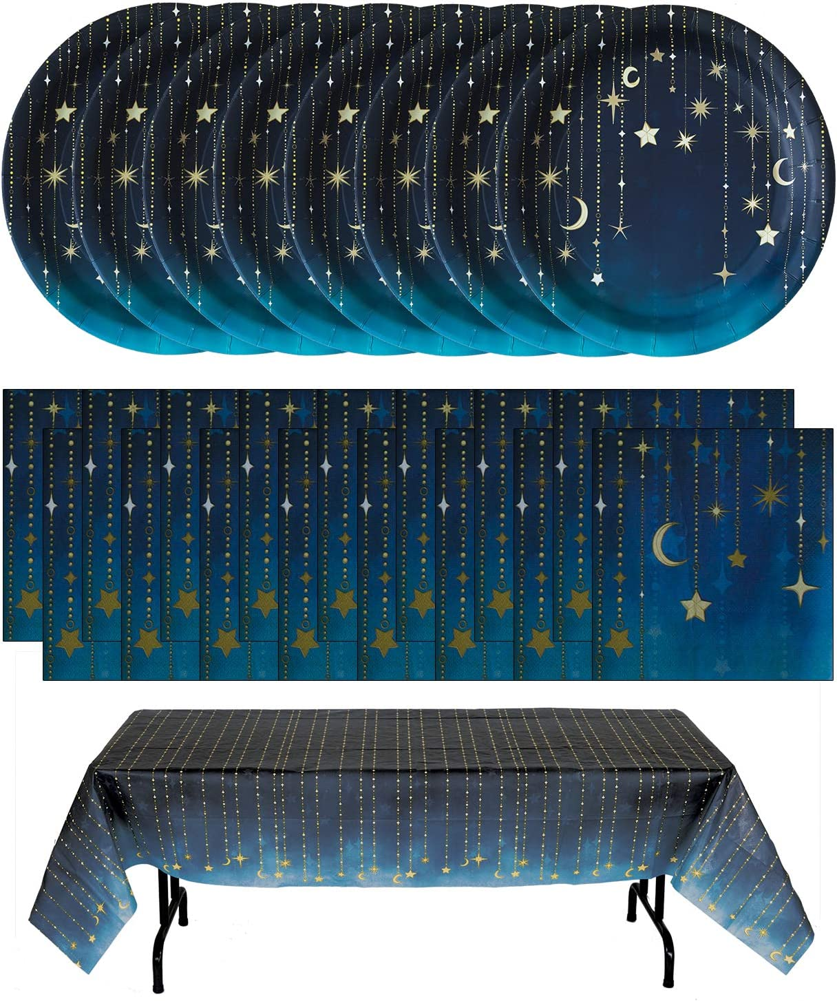 Havercamp Starry Night Party Bundle   Plates, Table Cover, Napkins   Great for Themed Birthday Party, Science Fair, Graduation Celebration
