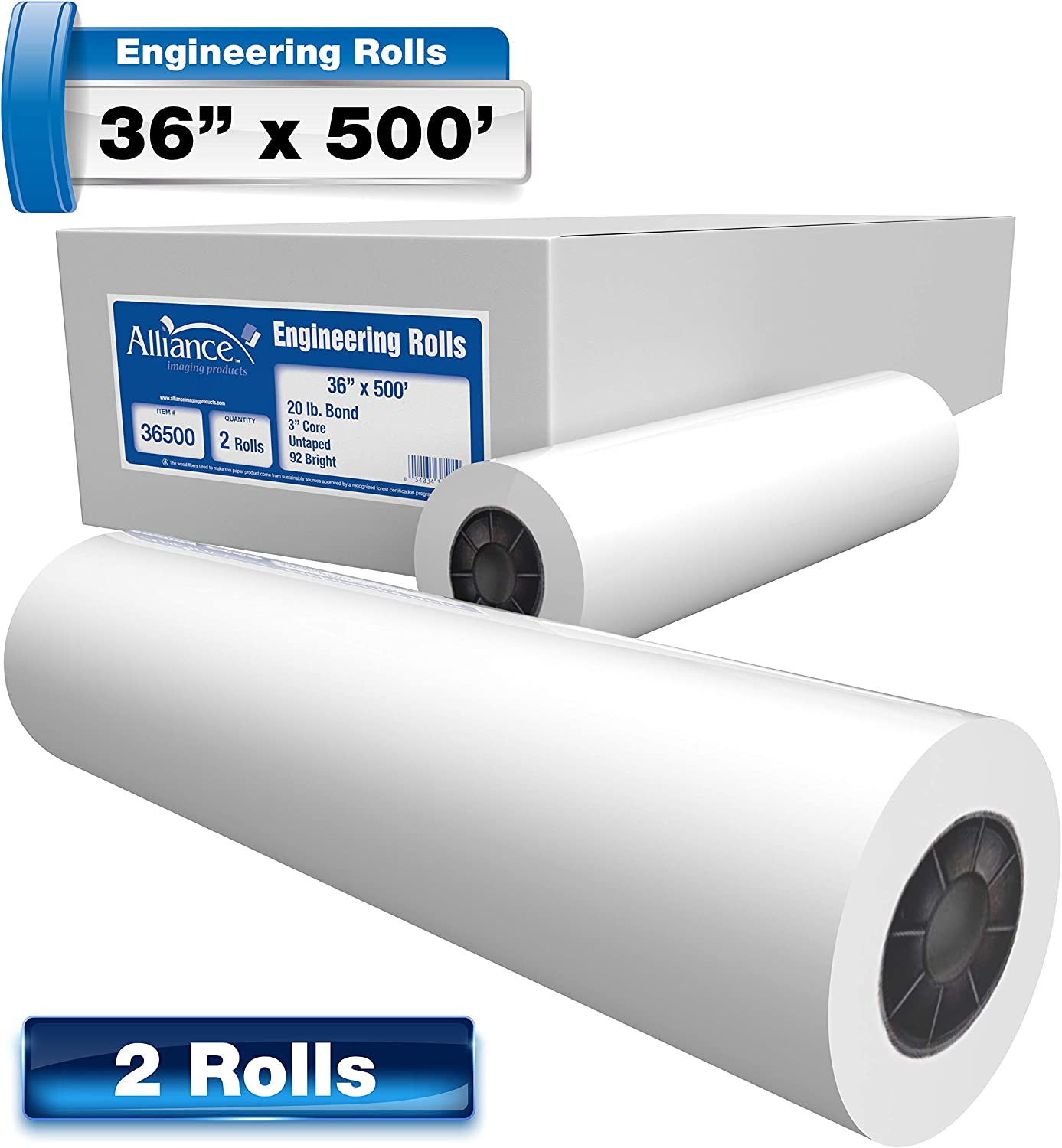"""36 x 150 1 roll//carton 3core with a 2/"""" adapter For Aqueous Latex Printers Alliance High Resolution Wide Format Coated Bond Inkjet Paper 28lb"""