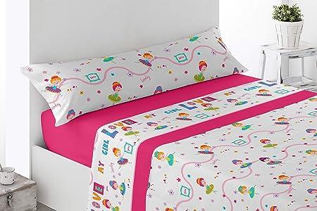Cabetex Home - Juego de sábanas Infantiles - Motivos Bailarina - 3 Piezas - polialgodón (90_x_190/200 cm): Amazon.es: Hogar