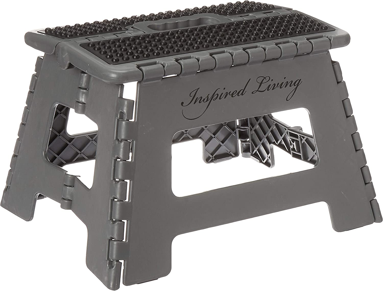 "Inspired Living Step Heavy Duty folding-stools, 9"" High, DARK GREY"