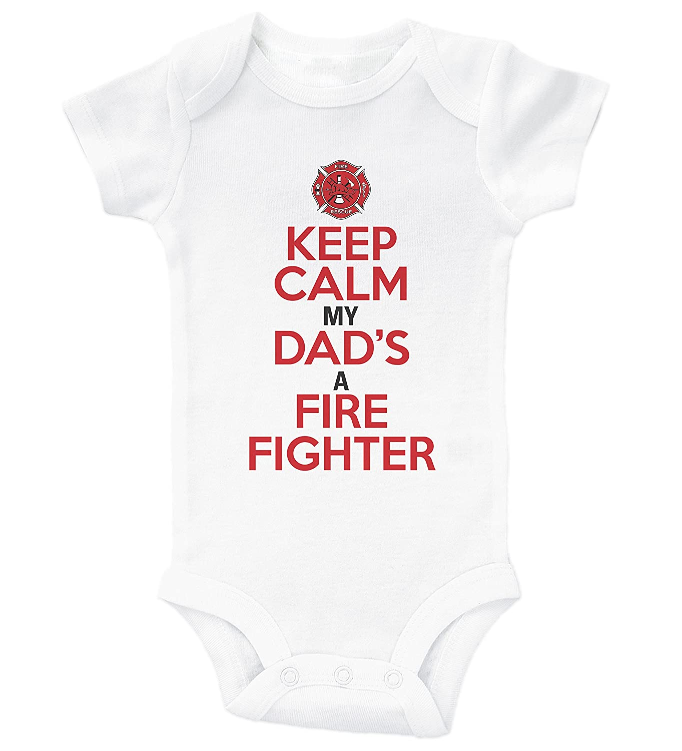 3781cd7776526 Baffle Funny Fire Fighter Onesie/Keep Calm, My Dad's A Firefighter/Daddy