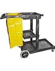 "Impact 6850 Janitor's Cart with 25-Gallon Yellow Vinyl Bag, Polyethylene, 48"" Length x 20-1/2"" Width x 38"" Height, Gray"