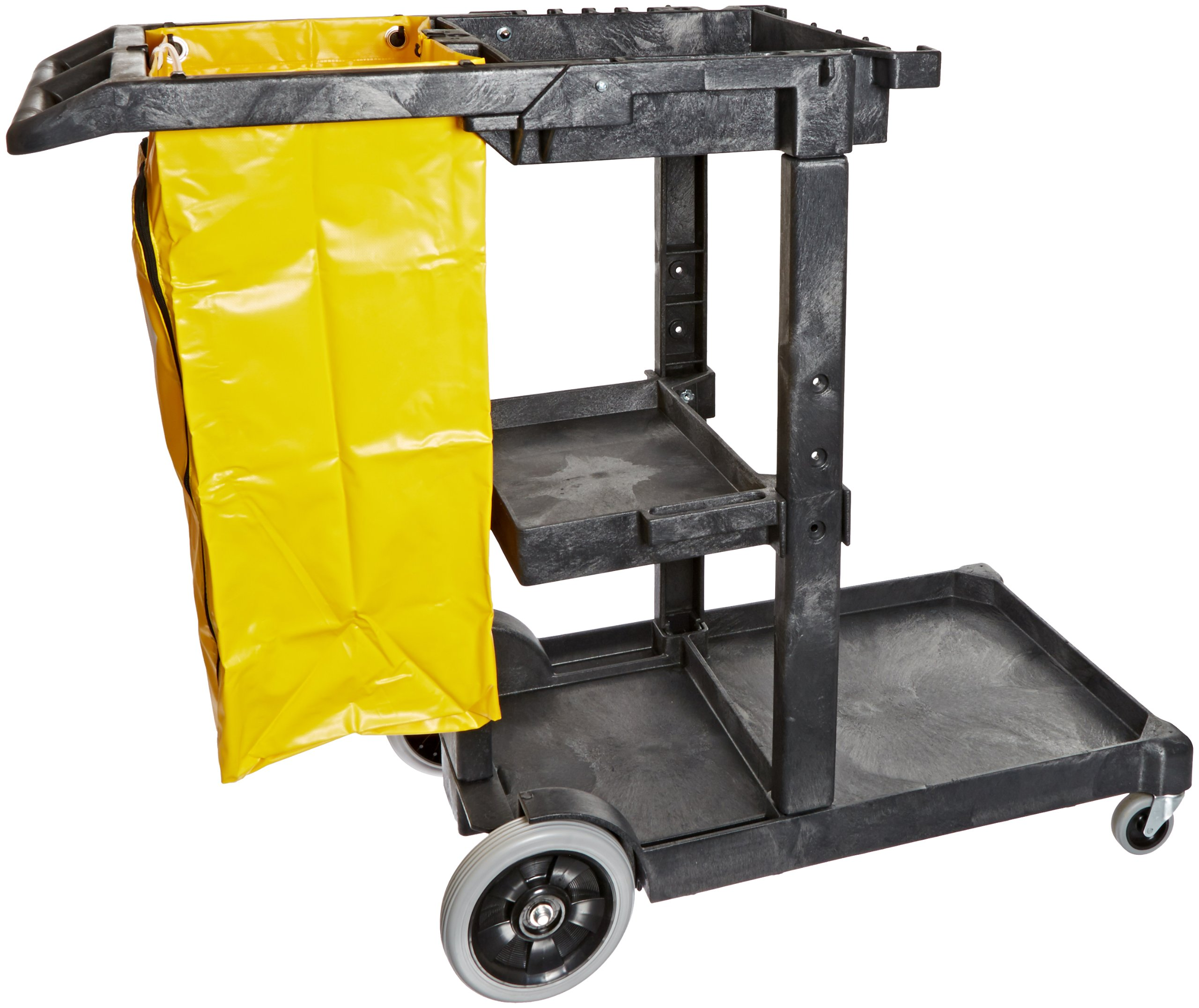 Impact 6850 Janitor's Cart with 25-Gallon Yellow Vinyl Bag, Polyethylene, 48'' Length x 20-1/2'' Width x 38'' Height, Gray