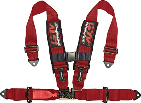 """PRP 5 Point Harness 3/"""" Pads Seat Belt PAIR RED Bypass Polaris RZR XP Turbo 1000"""