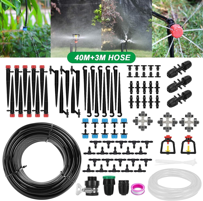 Aiglam Sistema de Riego, 40M + 3M Kit de Riego por Goteo Automático de Jardín con Boquilla Ajustable y Manguera Duradera para Césped Patio Invernadero Plantas