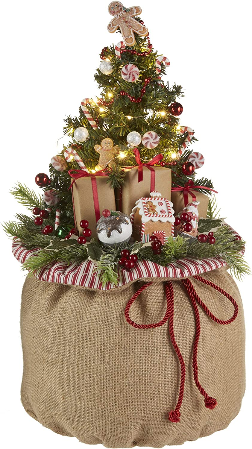 Amazon Com Raz Imports 24 Burlap Gift Bag With Lighted Tree All In One Holiday Decoration Home Kitchen