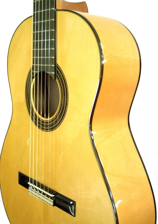 MARCE FLAMENCO 2 - Guitarra Clasica española de artesania + Funda (caja armónica maciza de pino Oregón, cuerpo macizo de Sicomoro, diapasón de Palosanto, dos perfiles de marqueteria, acción baja)