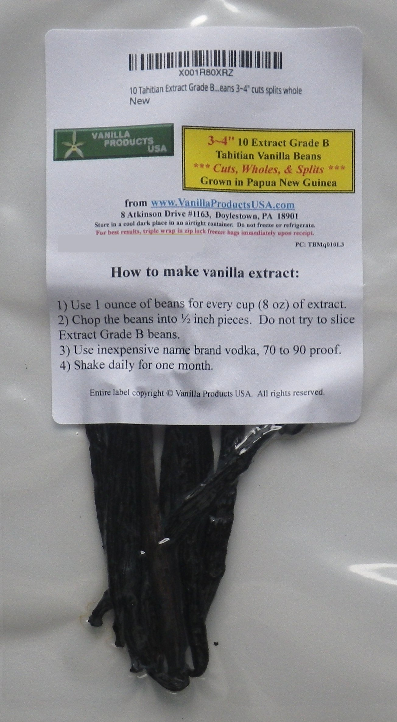 10 Tahitian Extract Grade B Vanilla Beans 3~4 inches, cuts splits whole by Vanilla Products USA (Image #1)