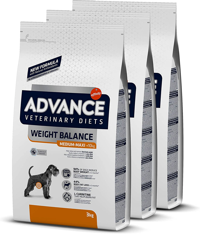 Advance Veterinary Diets Weight Balance Medium Maxi - Pienso para Perros de Razas Medianas y Grandes con Problemas de Sobrepeso - Pack de 3 x 3kg - Total 9kg