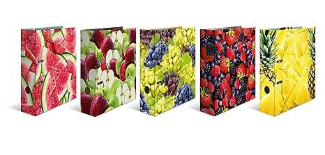 Archivador de cartón estampado Herma DIN A4, serie Frutas, color Set mit mehreren Motiven