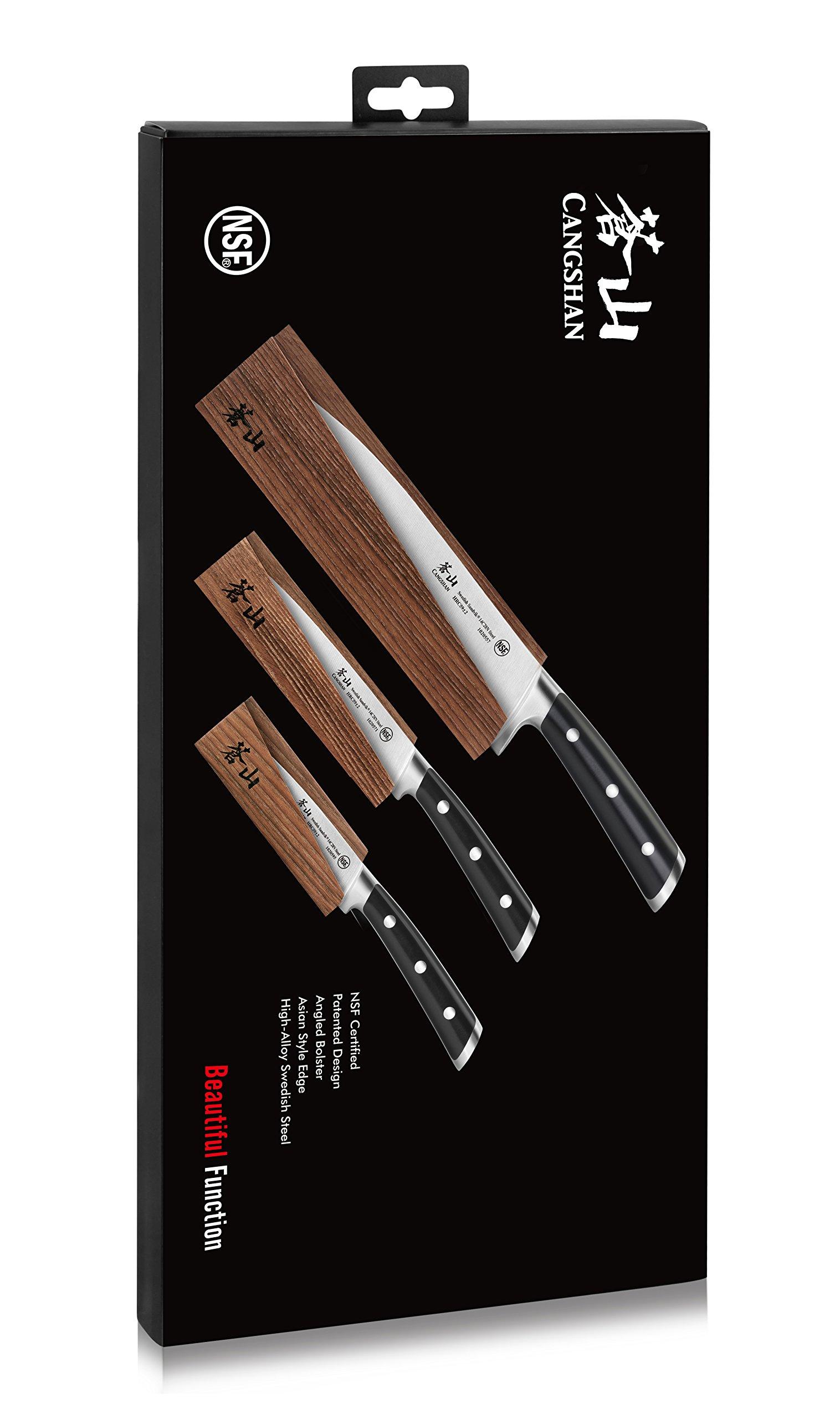 Cangshan TS Series 1020854 Swedish Sandvik 14C28N Steel Forged 3-Piece Starter Knife Set with Wood Sheaths