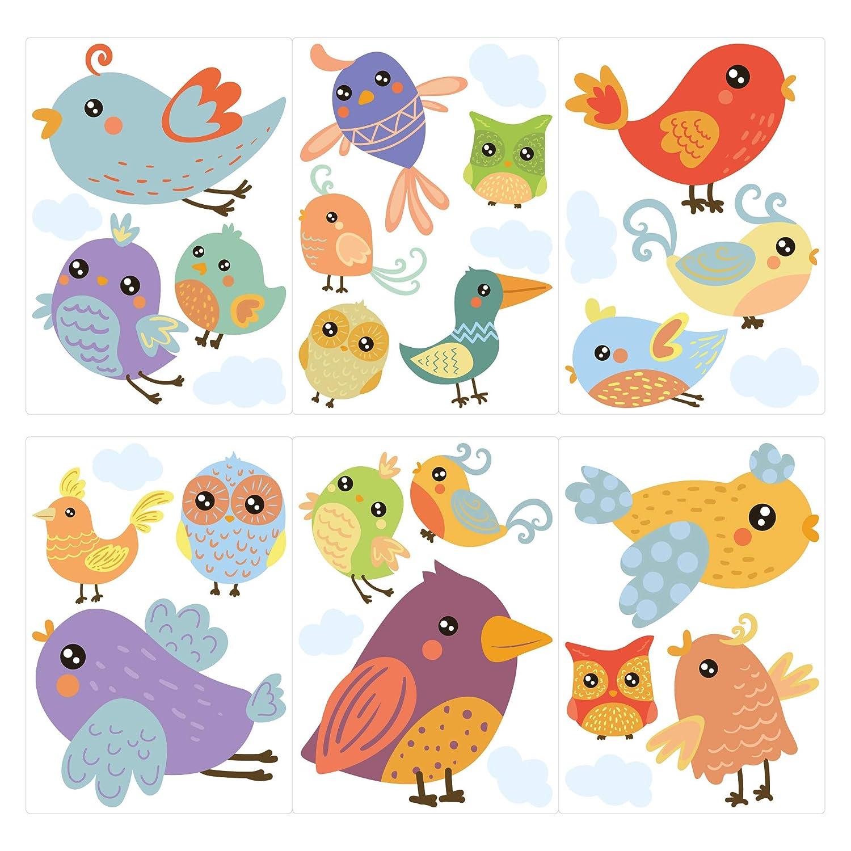 Pegatina de pared Juego de habitación infantil Varios pájaros ...
