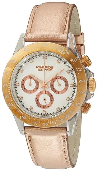 K BROS Women s 9533-3 Ice-Time Crash Chronograph Rose Gold-Tone White Dial cda260b97e