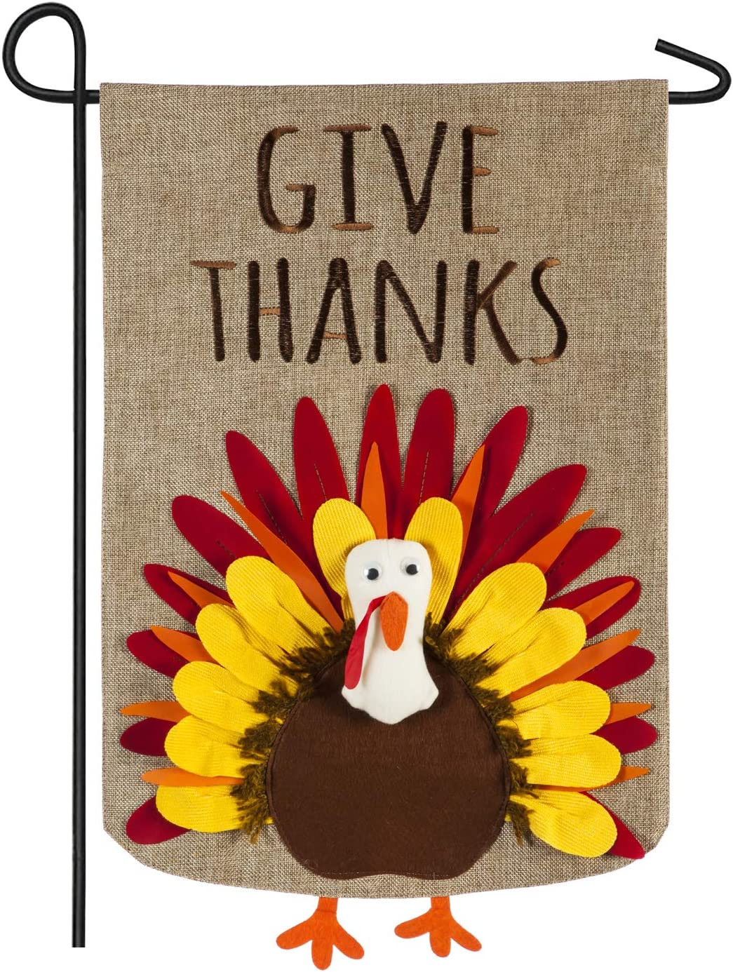 "Evergreen Flag ""Give Thanks Cheerful Turkey Outdoor Burlap Garden Flag, 12.5 x 18 inches"