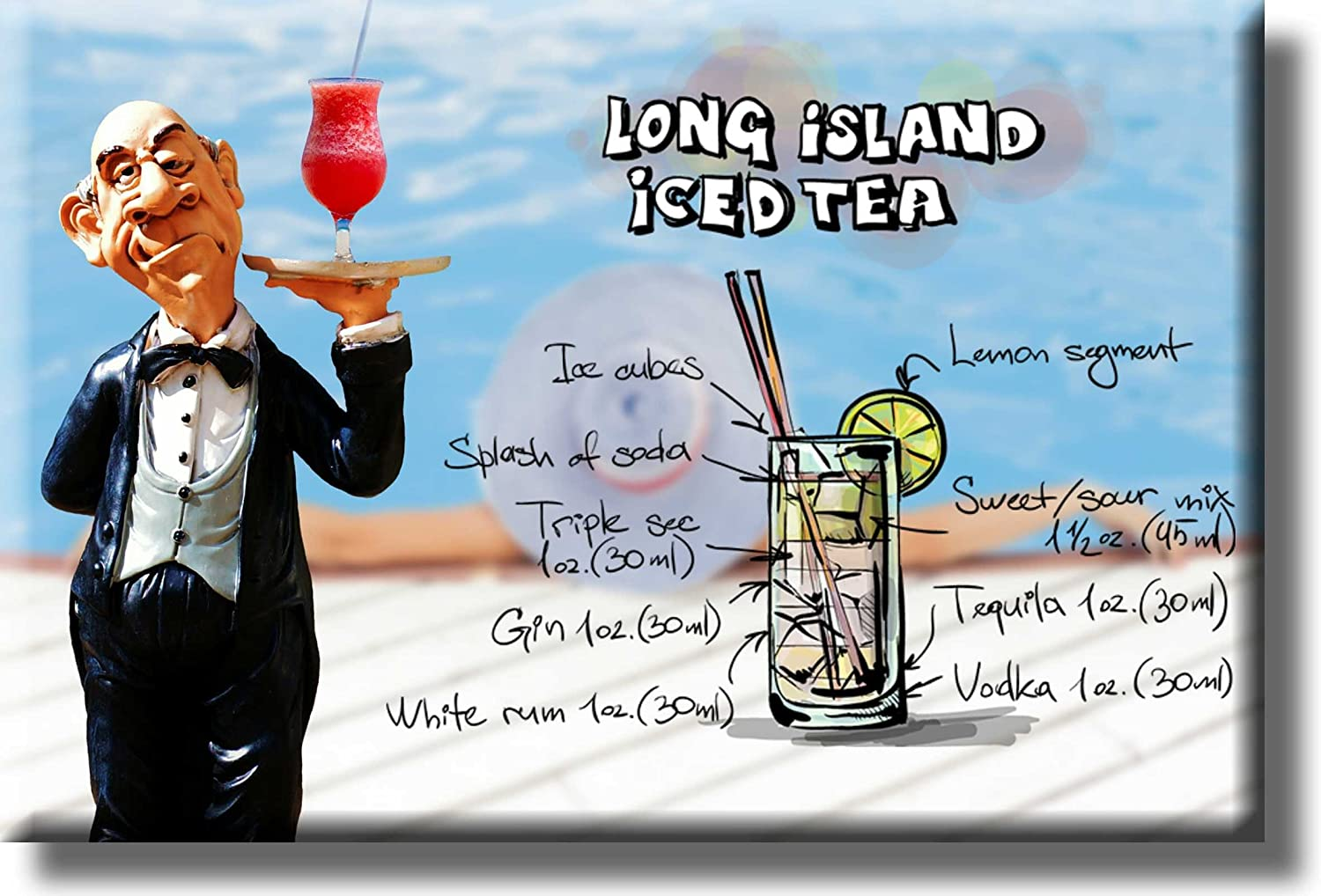 Amazon Com Long Island Iced Tea Cocktail Recipe Picture On Stretched Canvas Wall Art Decor Ready To Hang Posters Prints
