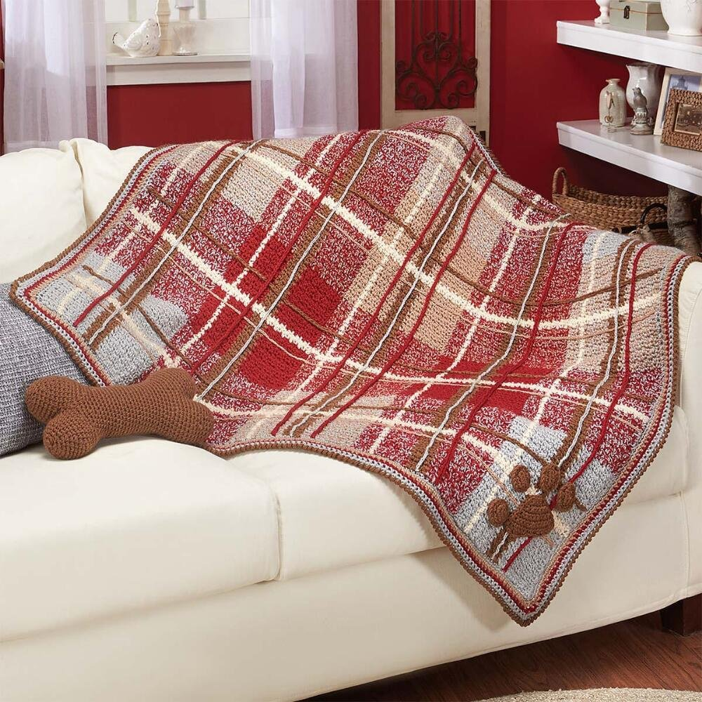Herrschners® Paws-itively Plaid Afghan Kit