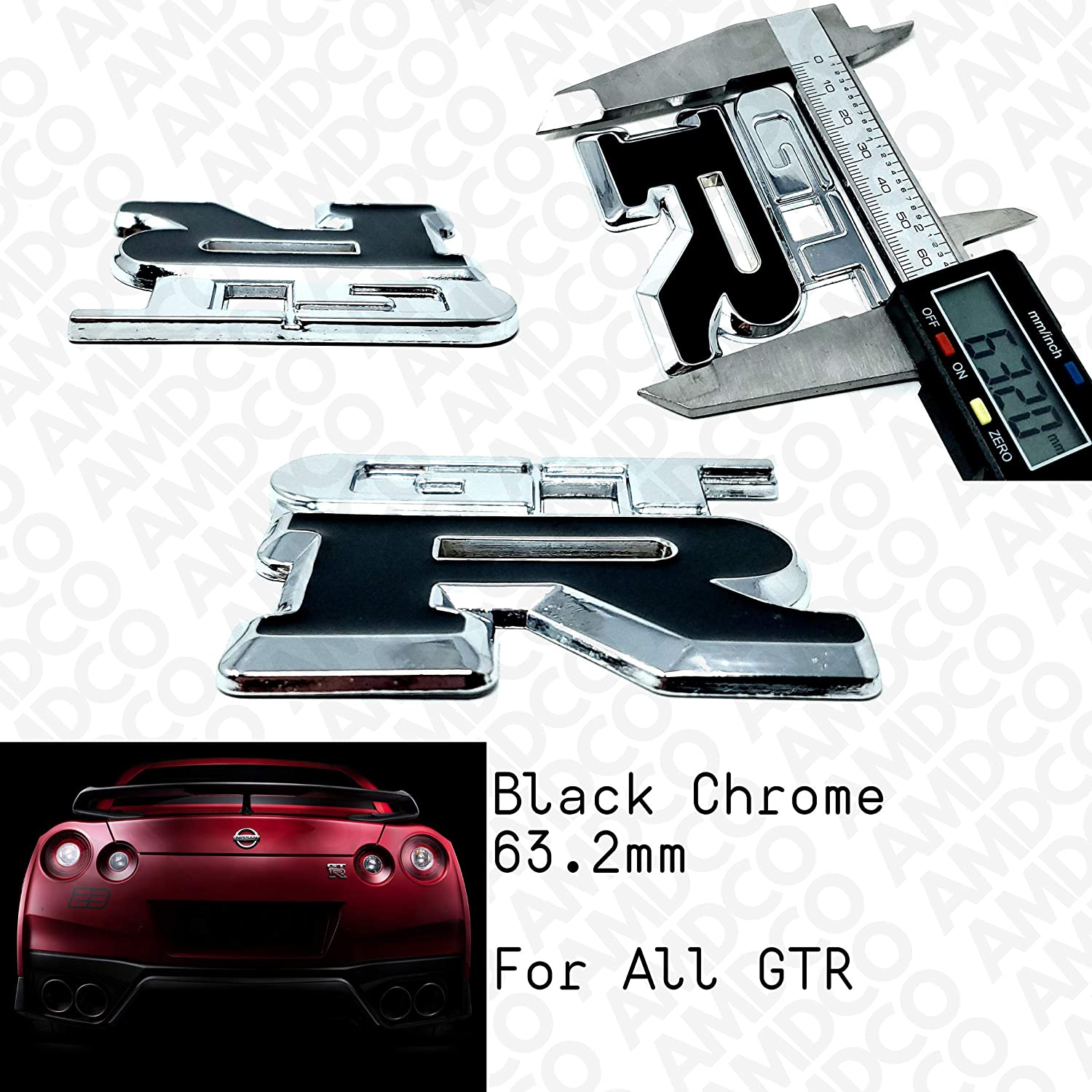CHROME BLACK REAR GTR BLACK Emblem Badge Stickers Decals with Strong 3M Includes instructions MEASURE Before Purchase Fitment Top Quality fit For GTR pack of 1 AMD