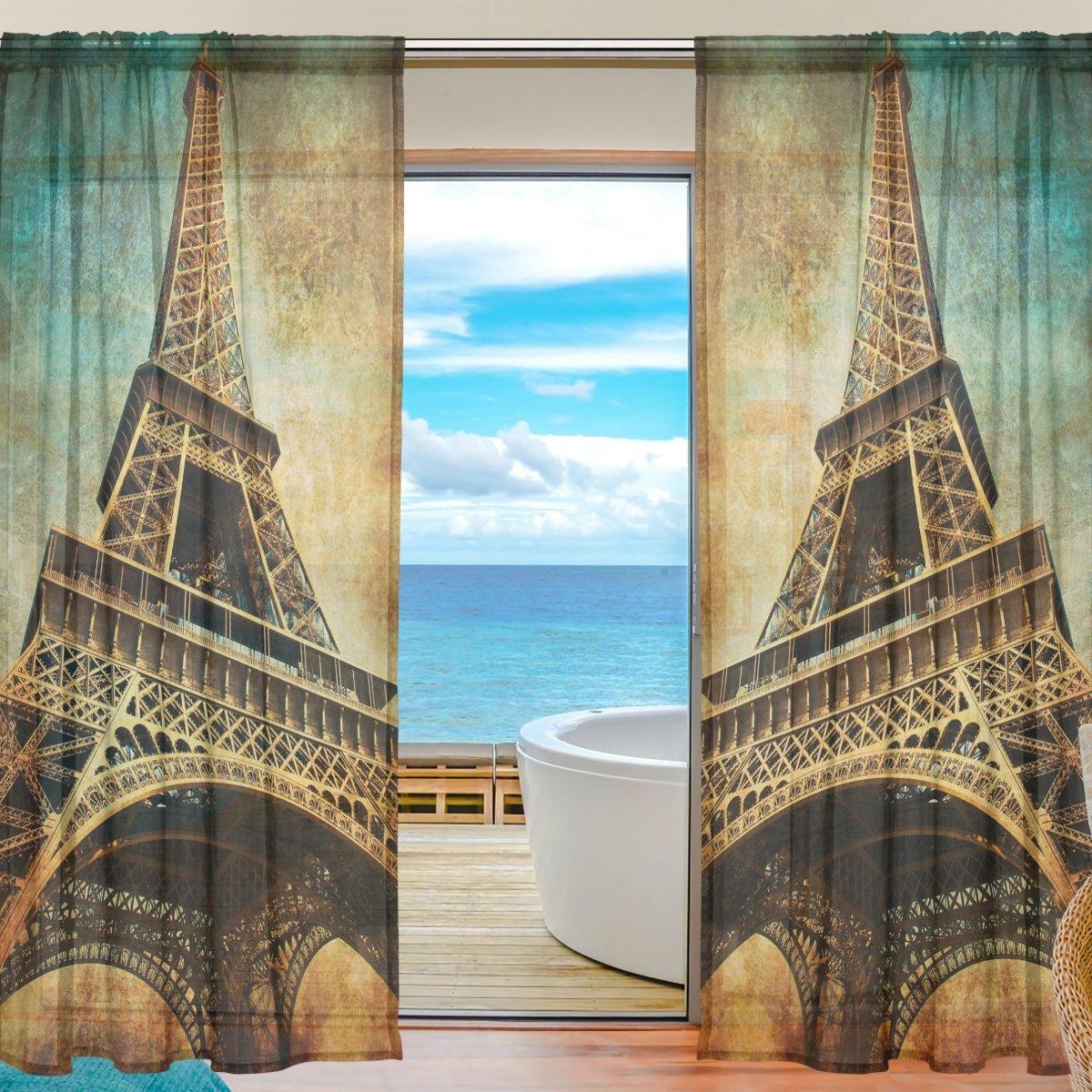 seulifeウィンドウ薄手のカーテン、ヴィンテージパリエッフェル塔ボイルカーテンドレープドアキッチンリビングルームベッドルーム55 x 55\ 78インチ2パネル 55