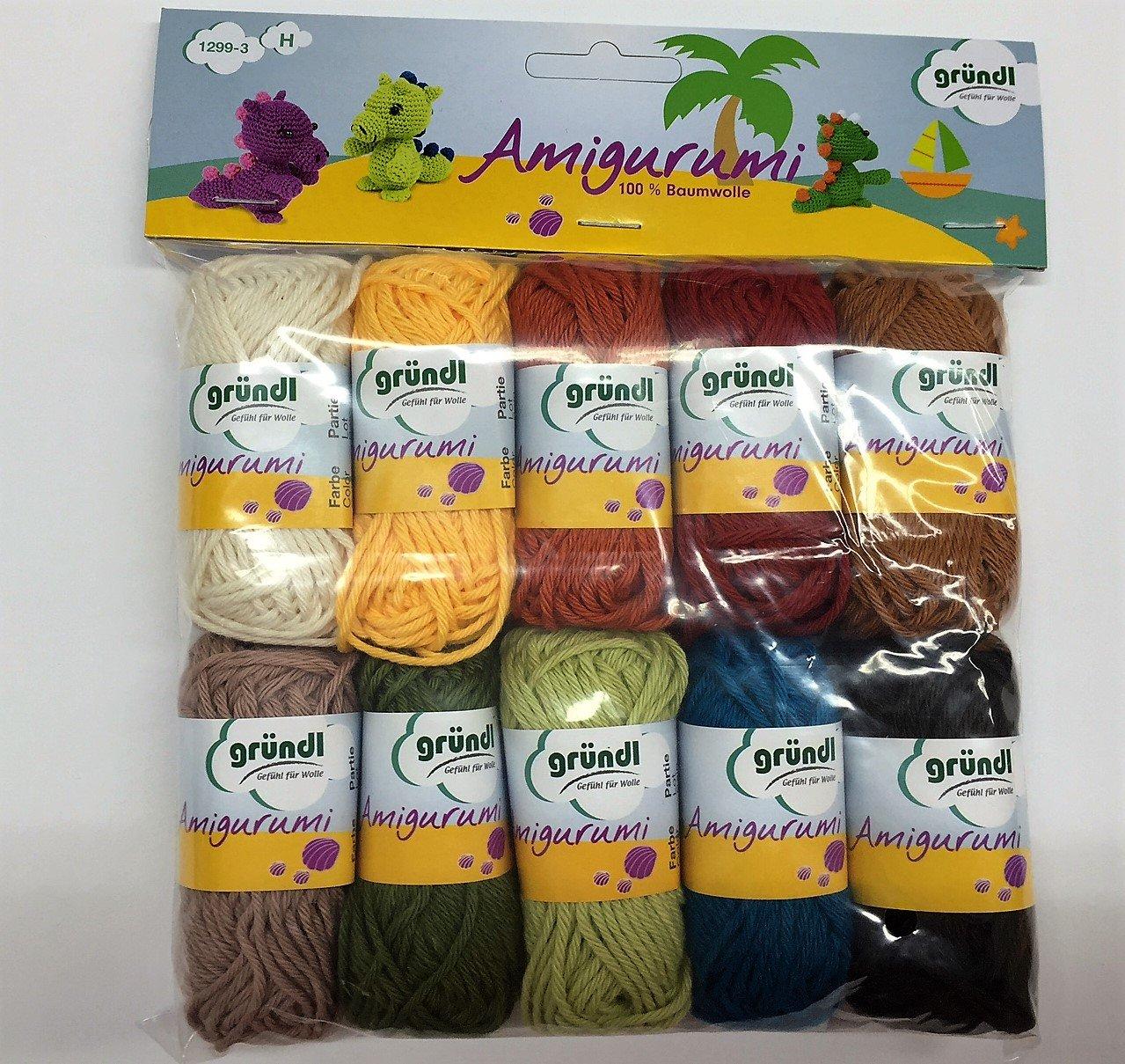 Gründl Amigurumi Set di 10 gomitoli di lana 10 pezzi Cotone Multicolore