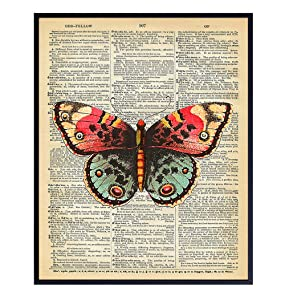 Upcycled Dictionary Wall Art Print - 8x10 Vintage Unframed Photo - Great For Home Decor and Easy Gift Giving - Nature - Orange and Green Butterfly