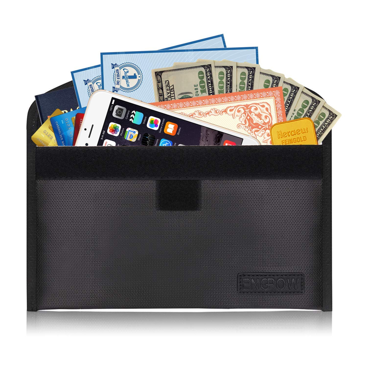 Fireproof Safe Bag for File Holder 10.2''x6''Non-Itchy Silicone Coated Money Bag for Cash, Passport,Jewelry, Important Documents,7-8 Inch Sleeve Bag Black (Black 2)