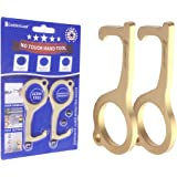 2pcs Hands Free Door Opener Tool, Brass Protector Clean Key with Hygiene Hand Utility Hook, No Touch Multitool Keychain…